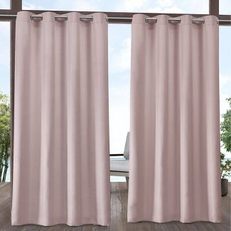 """54""""x84"""" Indoor/Outdoor Solid Cabana Grommet Top Window Curtain Panel Pair Blush - Exclusive Home"""