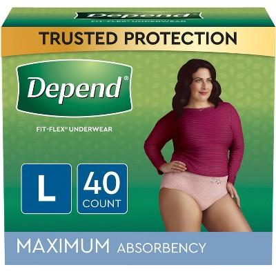 Depend FIT-FLEX Incontinence Underwear for Women - Maximum - Large - Blush - 40ct