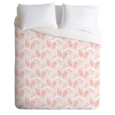 Full/Queen Little Arrow Design Co Geometric Duvet Set Pink - Deny Designs