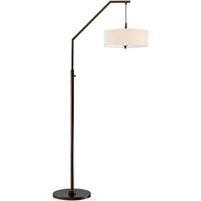 Possini Euro Design Modern Arc Floor Lamp Oil Rubbed Bronze Fabric Drum Shade White Acrylic Diffuser Living Room Reading Bedroom