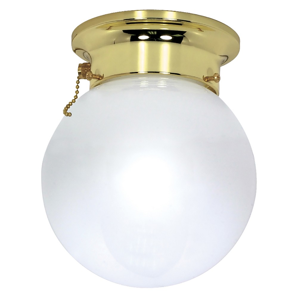 Image of Aurora Lighting 1 Light Polished Flush Mount Ceiling Lights Brass
