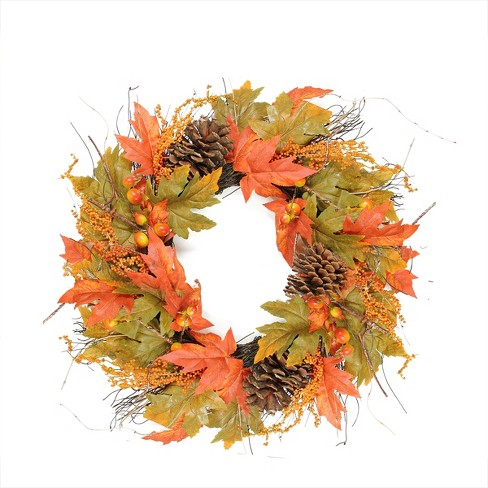 Northlight Fall Leaves, Pine Cones and Pumpkins Artificial Thanksgiving Wreath - 24-Inch - image 1 of 1