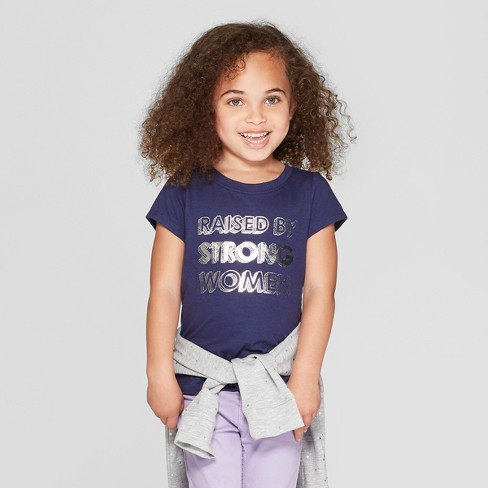 Toddler Girls' Short Sleeve 'Raised by Strong Women' Graphic T-Shirt - Cat & Jack™ Navy - image 1 of 3