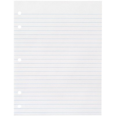 School Smart 5-Hole Punched Filler Paper, No Margin, 8 x 10-1/2 Inches, Wide Ruled, 500 Sheets
