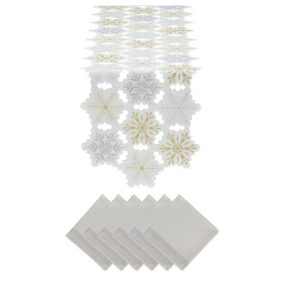 Embroidered Snowflakes Table Set - Design Imports