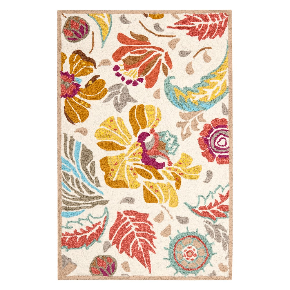 2'6X4' Floral Accent Rug Ivory/Gray - Safavieh