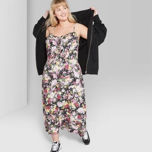 Women\'s Plus Size Floral Print Strappy Tie Front Midi Slip Dress - Wild  Fable™