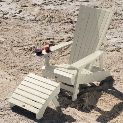 Manhattan Beach Adirondack Chair With Wine Gl Holder And Folding Ottoman Whitewash Highwood Target
