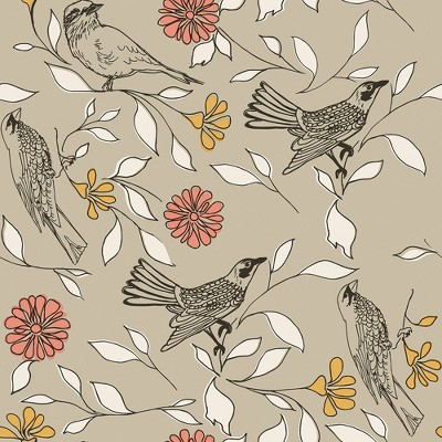 Tempaper Birds Greige Self Adhesive Removable Wallpaper