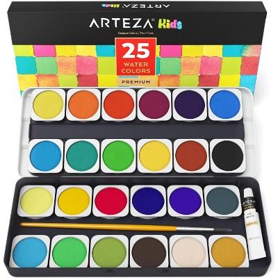Arteza Kids Washable Non-Toxic Watercolor Paint Set, Assorted Opaque Colors - 25 Pack (ARTZ-8113)