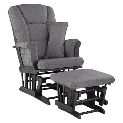 Stork Craft Tuscany Gray Glider and Ottoman - Slate Gray Swirl