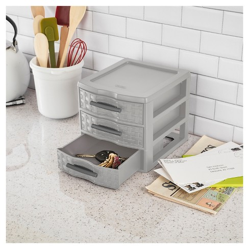 Sterilite 3 Drawer Small Weave Unit Gray Target