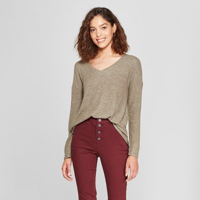 Women's Long Sleeve Cozy Knit Top - A New Day™ Olive S