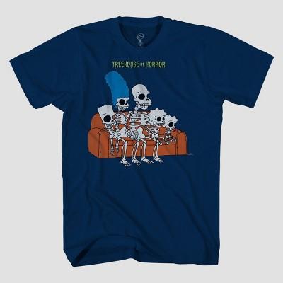 Men's Simpsons Family Skeleton Short Sleeve Graphic T-Shirt - Navy