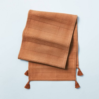 Ribbed Corner Tassels Table Runner Pumpkin Brown - Hearth & Hand™ with Magnolia