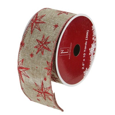 """Northlight Pack of 12 Red and Beige Star Christmas Wired Craft Ribbons - 2.5"""" x 120 Yards"""