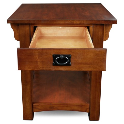 Mission End Table With Storage Drawer And Shelf Medium Oak Leick