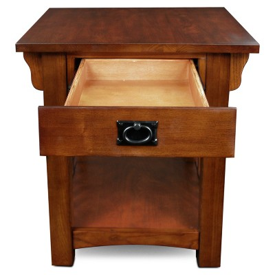 Mission End Table With Storage Drawer And Shelf   Medium Oak   Leick Home