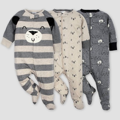 Gerber Baby Boys' 3pk Bear Sleep N' Play Pajamas - Gray/Light Brown 3-6M