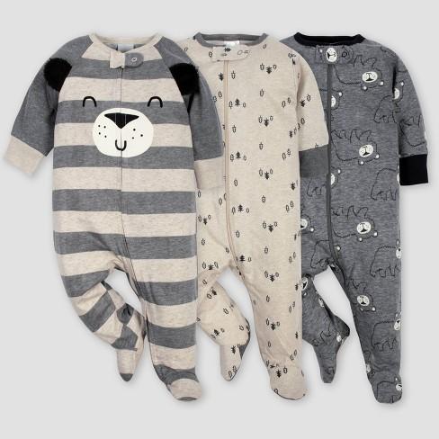 Gerber Baby Boys' 3pk Bear Sleep N' Play Pajamas - Gray/Light Brown - image 1 of 4