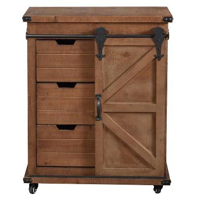 Graham Cart Cabinet Natural/Black - Stylecraft