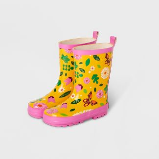 Kids' Butterfly Garden Rain Boots Yellow M - Kid Made Modern