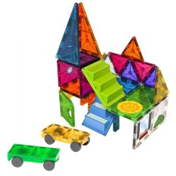 Magna-Tiles 28 Piece Mixed Colors House and Car Expansion Set