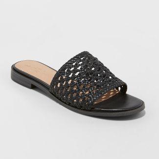 Women's Ellen Woven Slide Sandals - Universal Thread™ Black 7.5
