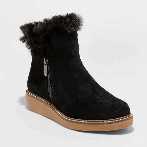 Women's Sonja Microsuede Faux Fur Sneakers Fashion Boots - A New Day™ - image 1 of 3