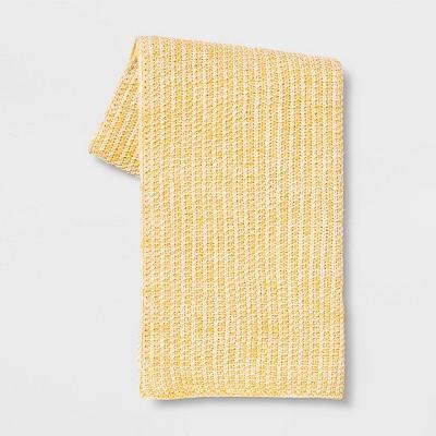 Heathered Knit Throw Yellow - Threshold™