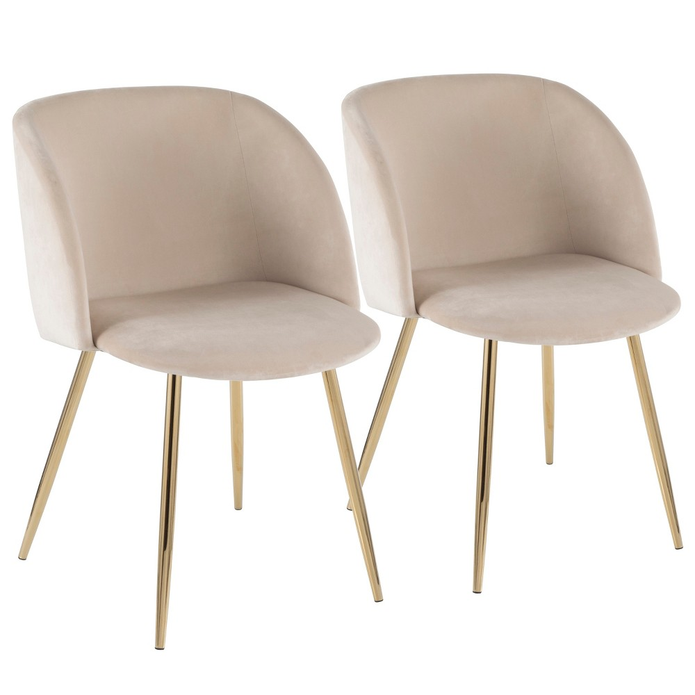 Set of 2 Fran Contemporary Chairs Cream/Gold (Ivory/Gold) - LumiSource
