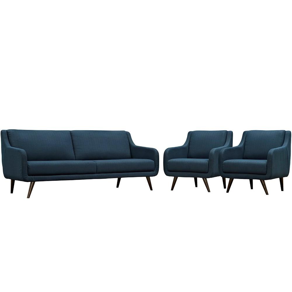 Verve Living Room Set Set of 3 Azure (Blue) - Modway