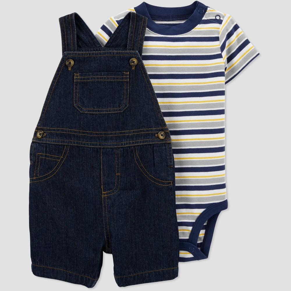 Baby Boys 39 Denim Striped Top 38 Bottom Set Just One You 174 Made By Carter 39 S Navy Newborn