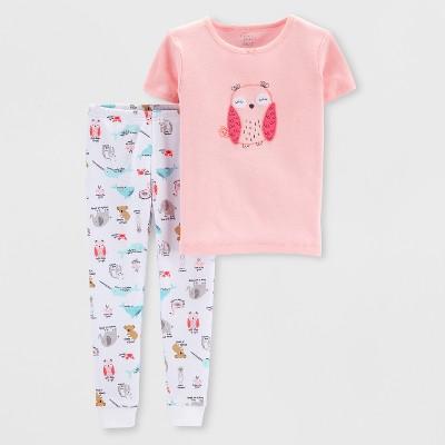 Little Planet Organic by carter's Baby Girls' Animals Pajama Set - Peach/White 18M