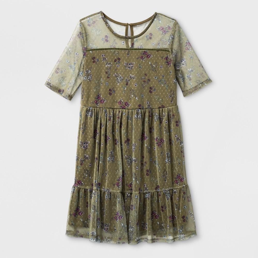 Girls' Illusion Mesh Dress - art class Olive Floral M