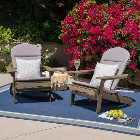 Malibu 2pk Acacia Wood Adirondack Chairs - Gray - Christopher Knight Home - image 1 of 4