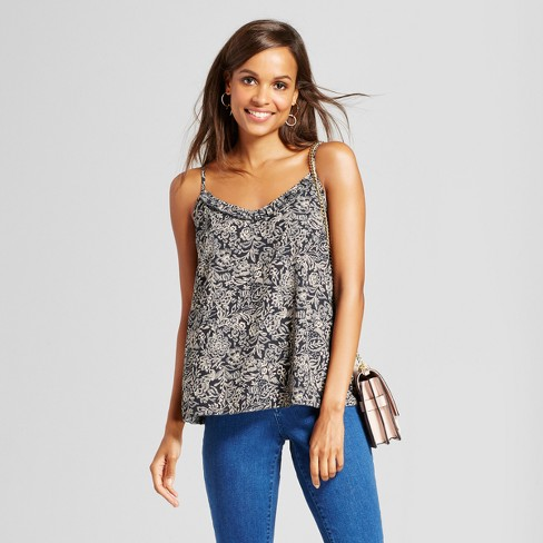 Women's Floral Ruffle Cami - A New Day™ Black M - image 1 of 3