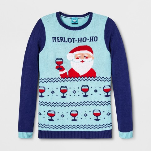Adult Christmas Merlothoho Santa Ugly Sweater Norther Pole Blue