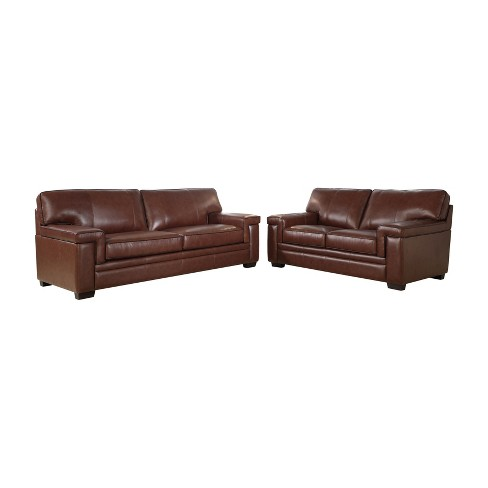 2pc Evan Top Grain Leather Sofa Loveseat Set Brown Abbyson Living