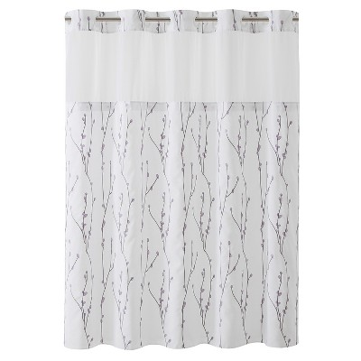 Cherry Bloom Shower Curtain with Liner White - Hookless