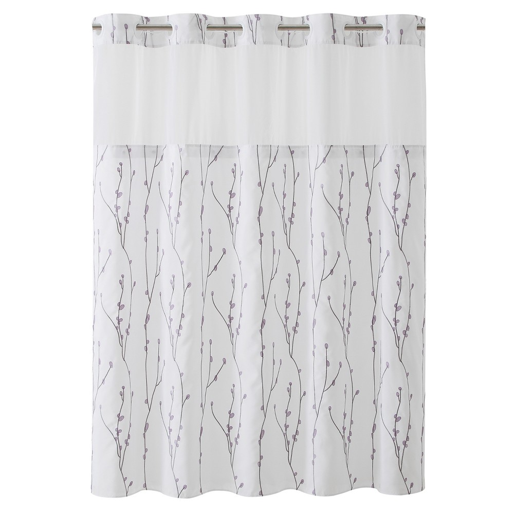 Image of Hookless Cherry Bloom Shower Curtain with Liner White