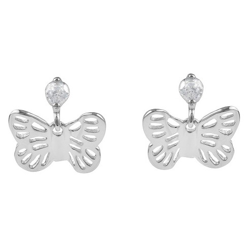 1/8 CT. T.W. Round-cut CZ Butterfly Stud Dangle Pave Set Earrings in Sterling Silver - Silver - image 1 of 2