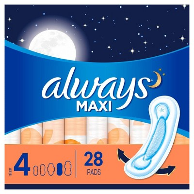 Always Maxi Pads Overnight Absorbency Unscented without Wings - Size 4 - 28ct