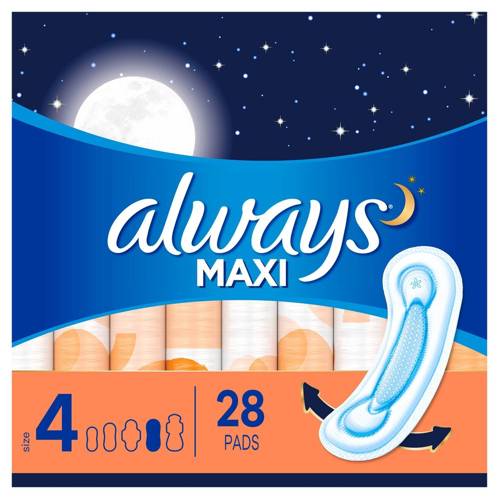 Always Maxi Pads Overnight Absorbency Unscented Without Wings Size 4 28ct