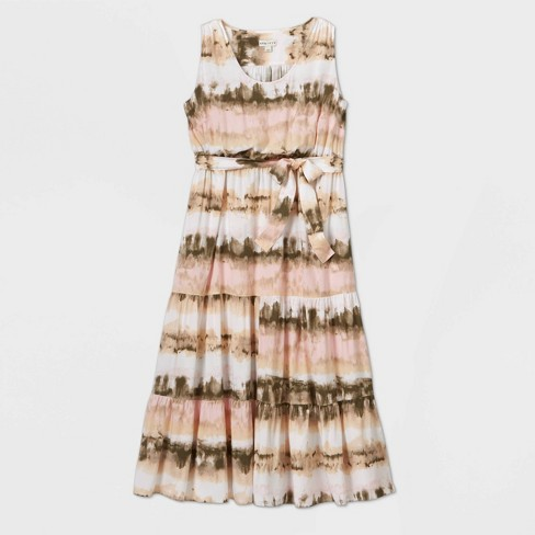 Women's Plus Size Sleeveless Tie-Dye Tiered Maxi Dress - Ava & Viv™ Pink - image 1 of 2