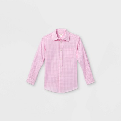 Boys' Checked Long Sleeve Button-Down Shirt - Cat & Jack™ Pink/White