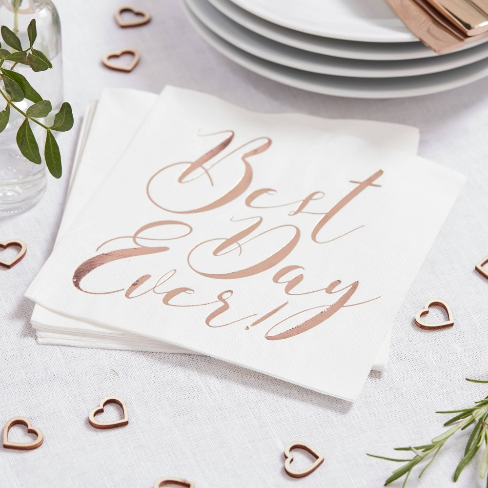 """Image of """"""""""""Best Day Ever"""""""" Disposable Napkins Rose Gold"""""""