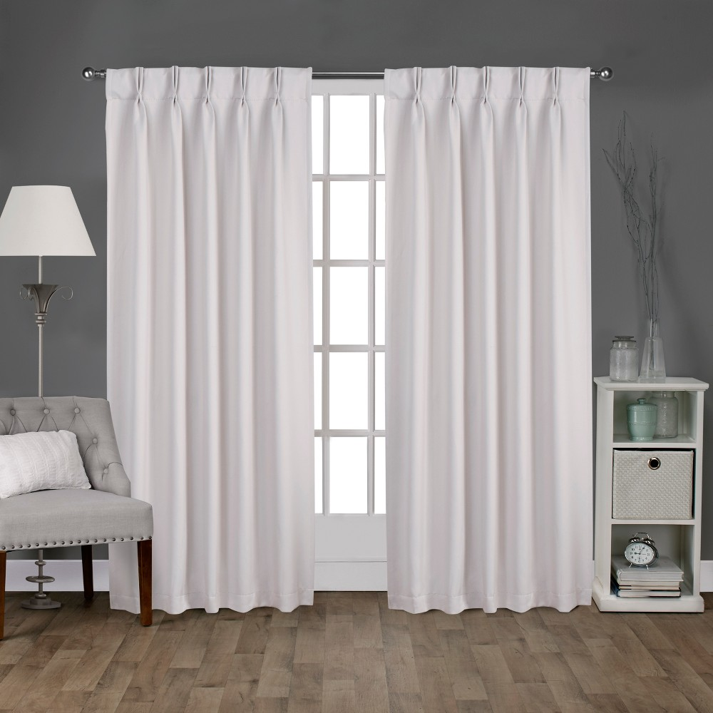 Sateen Pinch Pleat Woven Blackout Back Tab Window Curtain Panel Pair Vanilla (White) 52x96 - Exclusive Home