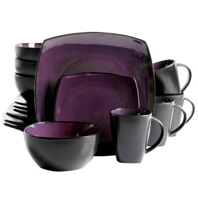 Gibson Home 16pc Stoneware Soho Lounge Dinnerware Set Purple