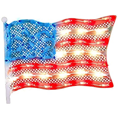 "Impact Innovations 14.5"" Red and Blue Lighted Patriotic Fourth of July American Flag Window Silhouette Decoration"